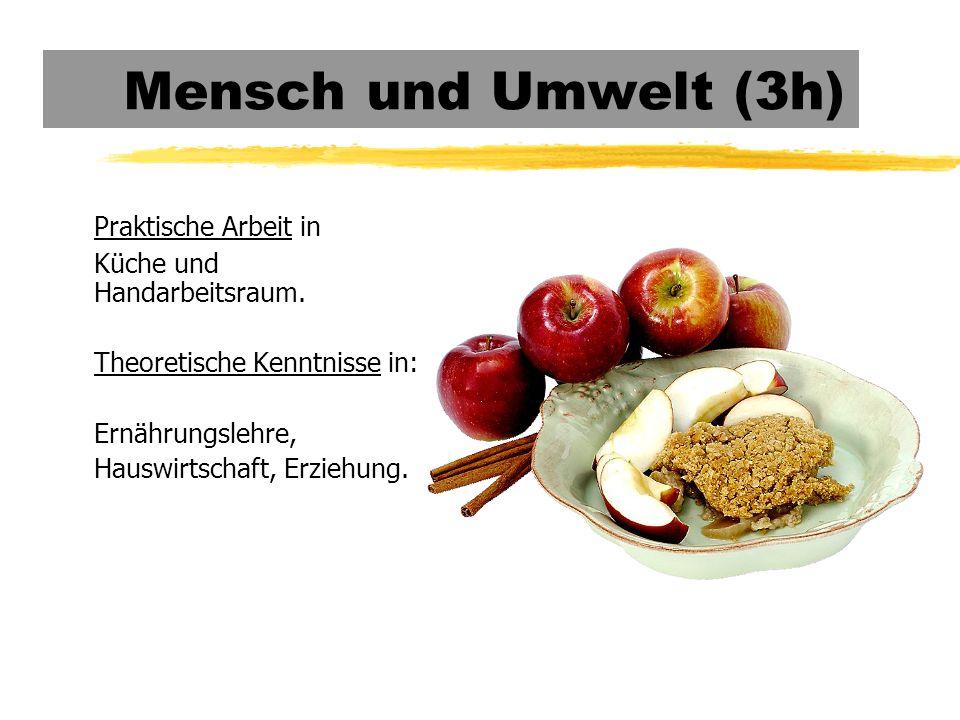 Mensch und Umwelt (3h) Praktische Arbeit in Küche und Handarbeitsraum.