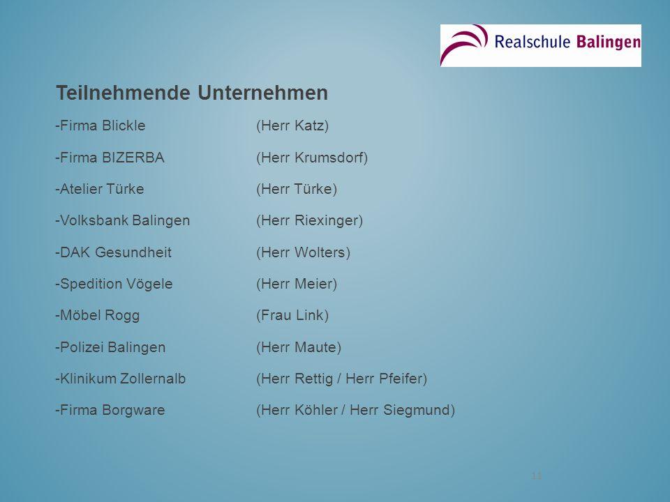 11 Teilnehmende Unternehmen -Firma Blickle(Herr Katz) -Firma BIZERBA(Herr Krumsdorf) -Atelier Türke(Herr Türke) -Volksbank Balingen(Herr Riexinger) -D