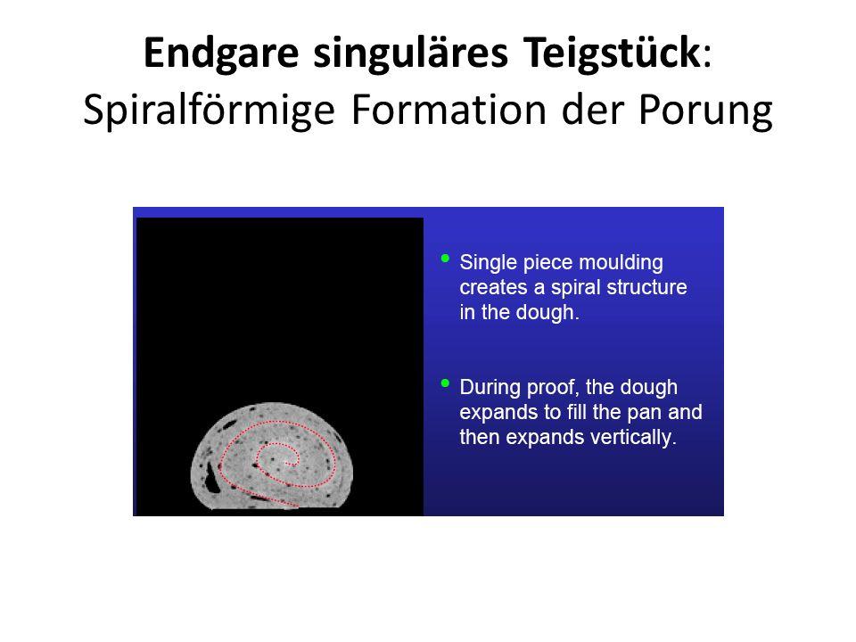 Endgare singuläres Teigstück: Spiralförmige Formation der Porung