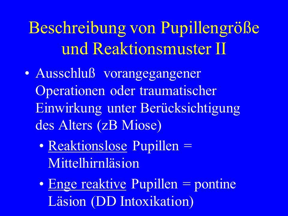 Beschreibung von Pupillengröße und Reaktionsmuster II Ausschluß vorangegangener Operationen oder traumatischer Einwirkung unter Berücksichtigung des A