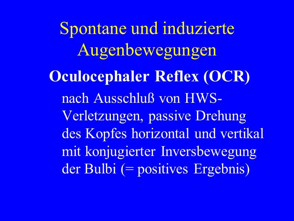 Spontane und induzierte Augenbewegungen Oculocephaler Reflex (OCR) nach Ausschluß von HWS- Verletzungen, passive Drehung des Kopfes horizontal und ver