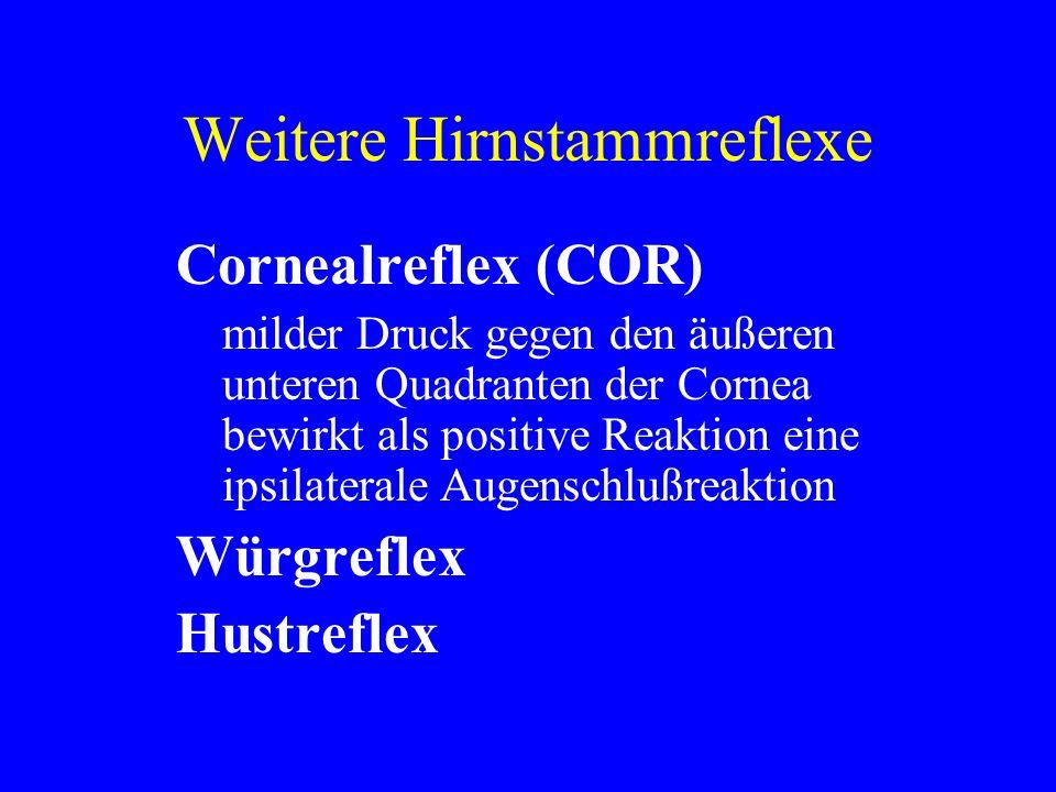 Weitere Hirnstammreflexe Cornealreflex (COR) milder Druck gegen den äußeren unteren Quadranten der Cornea bewirkt als positive Reaktion eine ipsilater