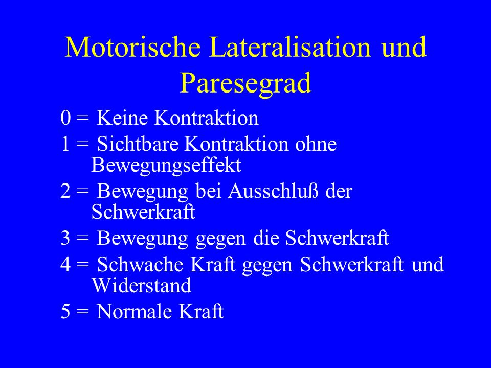 Motorische Lateralisation und Paresegrad 0 = Keine Kontraktion 1 = Sichtbare Kontraktion ohne Bewegungseffekt 2 = Bewegung bei Ausschluß der Schwerkra