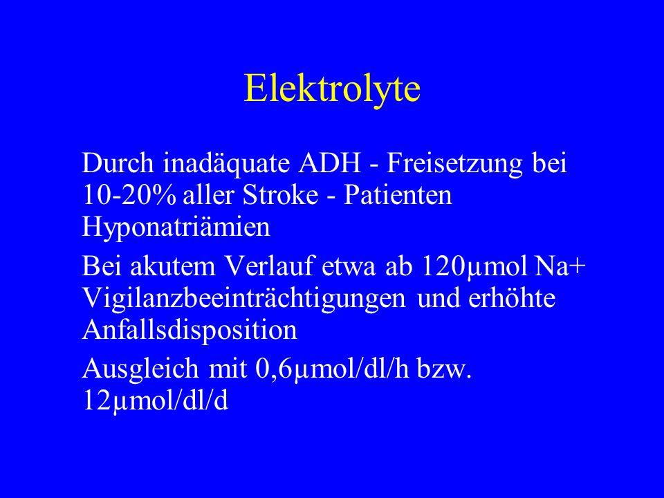 Elektrolyte Durch inadäquate ADH - Freisetzung bei 10-20% aller Stroke - Patienten Hyponatriämien Bei akutem Verlauf etwa ab 120µmol Na+ Vigilanzbeein