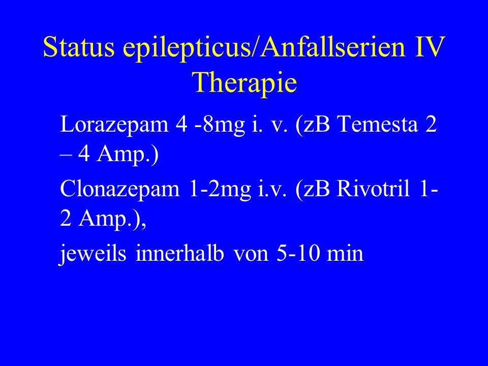 Status epilepticus/Anfallserien IV Therapie Lorazepam 4 -8mg i. v. (zB Temesta 2 – 4 Amp.) Clonazepam 1-2mg i.v. (zB Rivotril 1- 2 Amp.), jeweils inne