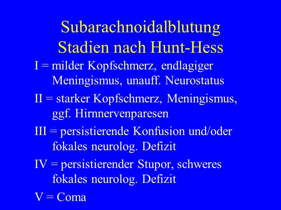Subarachnoidalblutung Stadien nach Hunt-Hess I = milder Kopfschmerz, endlagiger Meningismus, unauff. Neurostatus II = starker Kopfschmerz, Meningismus