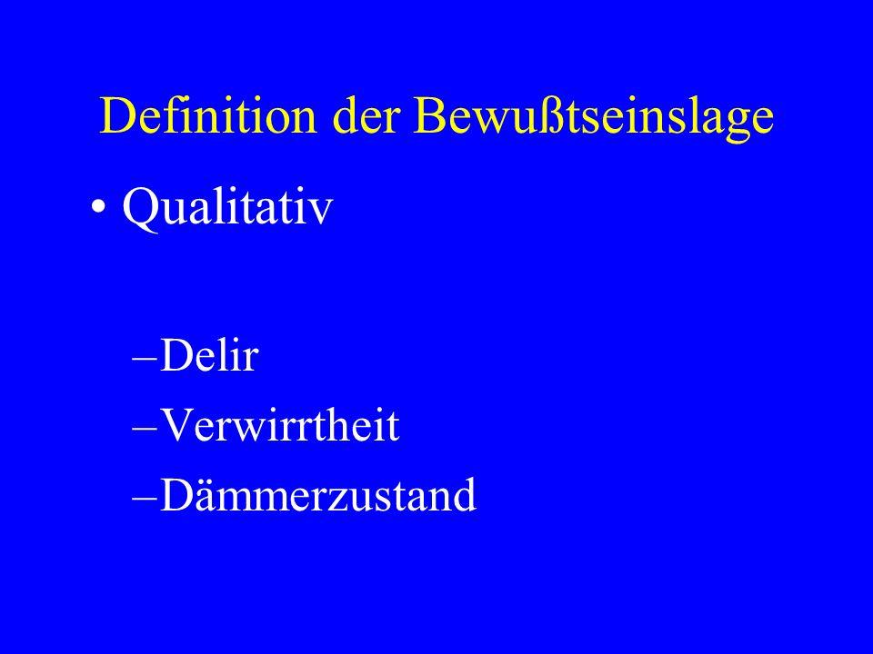 Definition der Bewußtseinslage Qualitativ –Delir –Verwirrtheit –Dämmerzustand