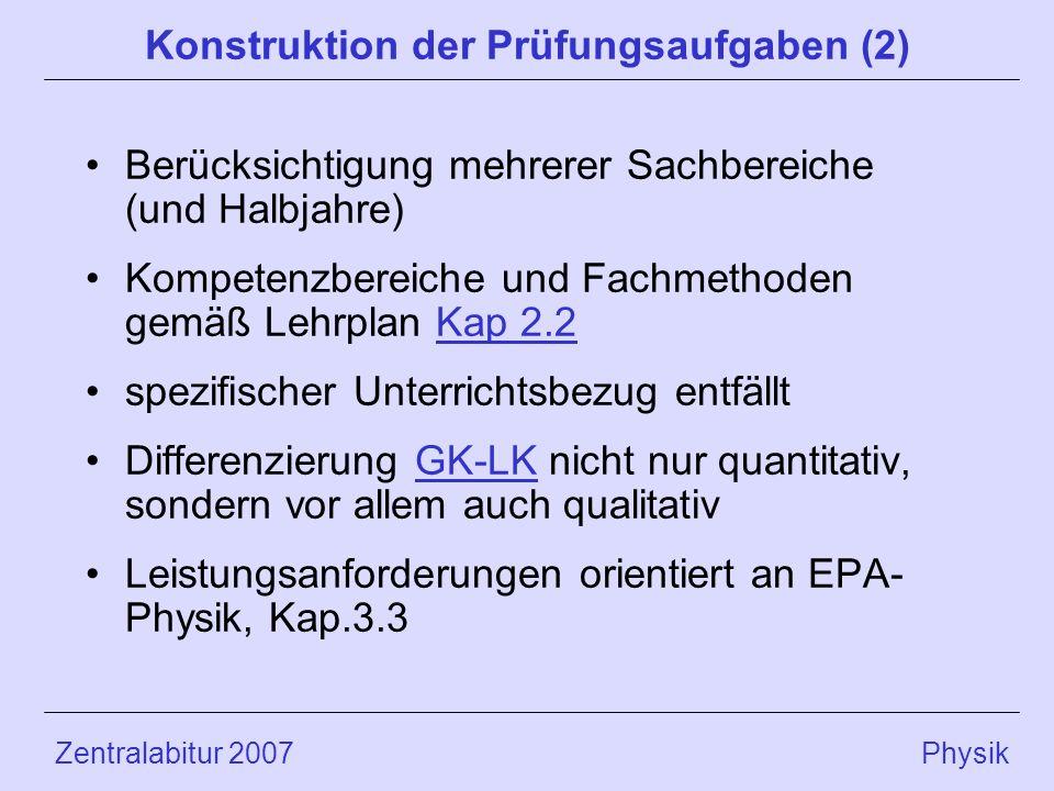 Zentralabitur 2007 Physik Konstruktion der Prüfungsaufgaben (2) Berücksichtigung mehrerer Sachbereiche (und Halbjahre) Kompetenzbereiche und Fachmethoden gemäß Lehrplan Kap 2.2Kap 2.2 spezifischer Unterrichtsbezug entfällt Differenzierung GK-LK nicht nur quantitativ, sondern vor allem auch qualitativGK-LK Leistungsanforderungen orientiert an EPA- Physik, Kap.3.3