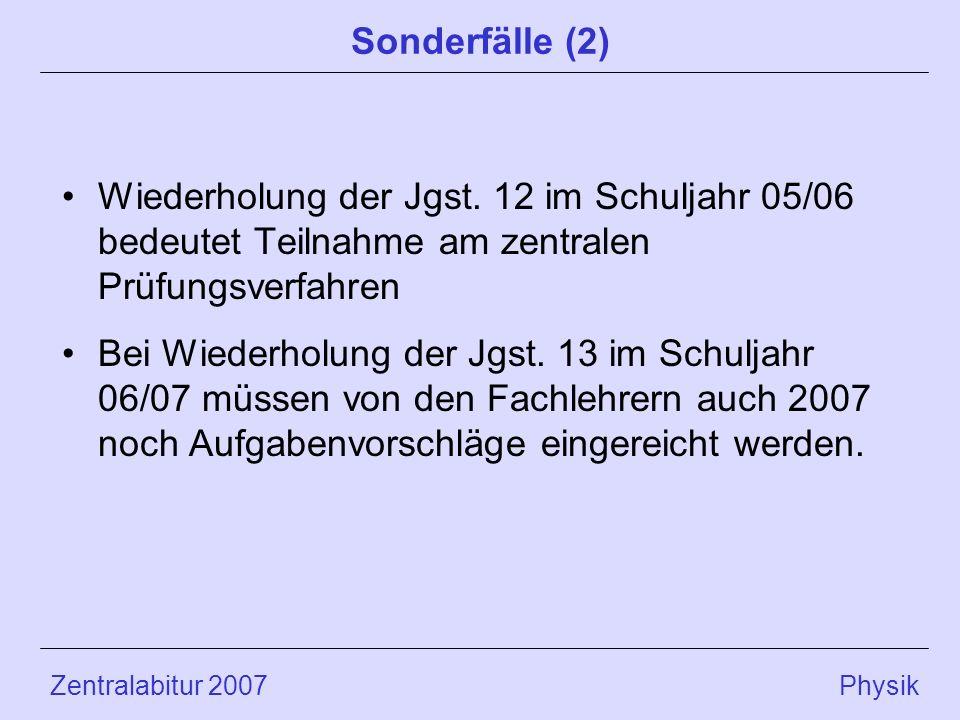 Zentralabitur 2007 Physik Sonderfälle (2) Wiederholung der Jgst.