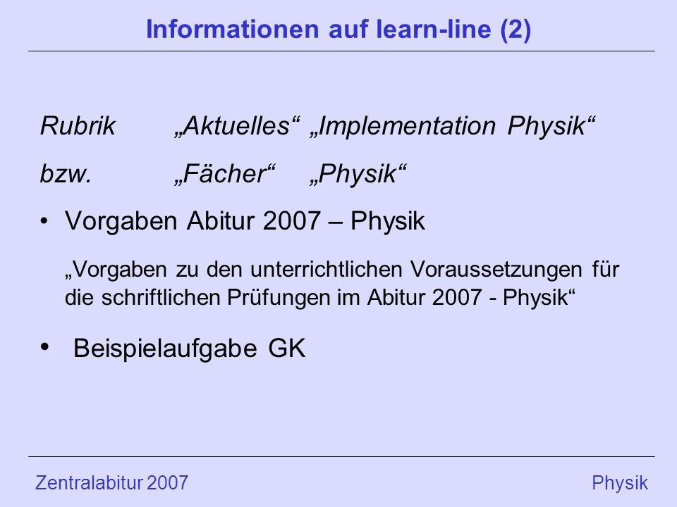 Zentralabitur 2007 Physik Informationen auf learn-line (2) RubrikAktuellesImplementation Physik bzw.FächerPhysik Vorgaben Abitur 2007 – Physik Vorgabe
