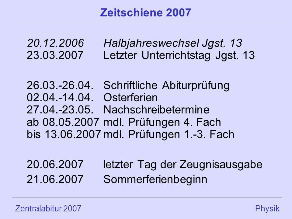 Zentralabitur 2007 Physik Zeitschiene 2007 20.12.2006Halbjahreswechsel Jgst. 13 23.03.2007Letzter Unterrichtstag Jgst. 13 26.03.-26.04.Schriftliche Ab