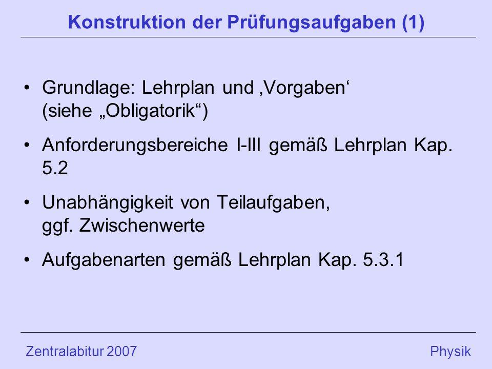 Zentralabitur 2007 Physik Konstruktion der Prüfungsaufgaben (1) Grundlage: Lehrplan und Vorgaben (siehe Obligatorik) Anforderungsbereiche I-III gemäß