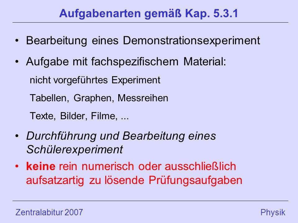 Zentralabitur 2007 Physik Aufgabenarten gemäß Kap. 5.3.1 Bearbeitung eines Demonstrationsexperiment Aufgabe mit fachspezifischem Material: nicht vorge