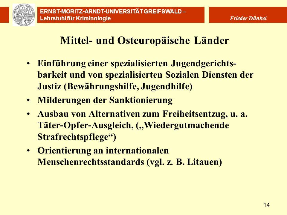 ERNST-MORITZ-ARNDT-UNIVERSITÄT GREIFSWALD – Lehrstuhl für Kriminologie Frieder Dünkel 14 Mittel- und Osteuropäische Länder Einführung einer spezialisi