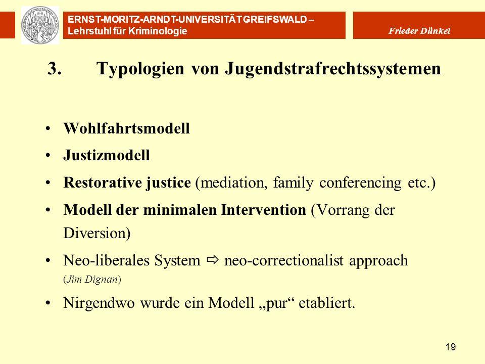ERNST-MORITZ-ARNDT-UNIVERSITÄT GREIFSWALD – Lehrstuhl für Kriminologie Frieder Dünkel 19 3.Typologien von Jugendstrafrechtssystemen Wohlfahrtsmodell J