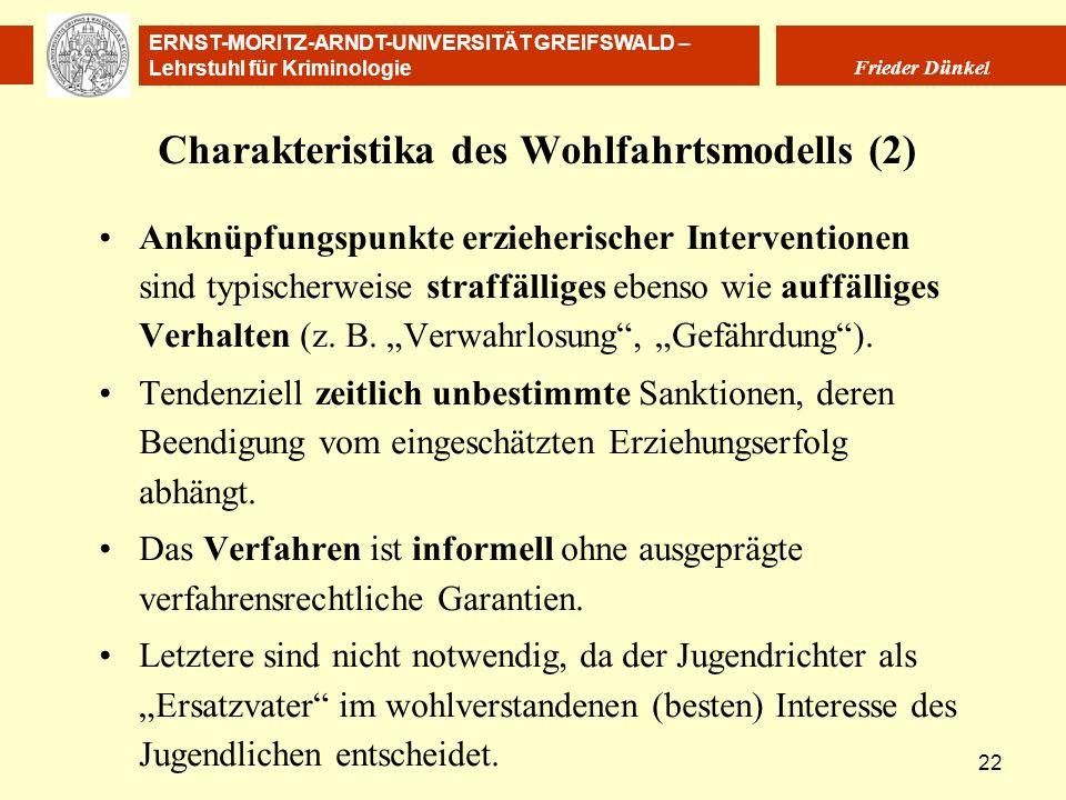 ERNST-MORITZ-ARNDT-UNIVERSITÄT GREIFSWALD – Lehrstuhl für Kriminologie Frieder Dünkel 22 Charakteristika des Wohlfahrtsmodells (2) Anknüpfungspunkte e
