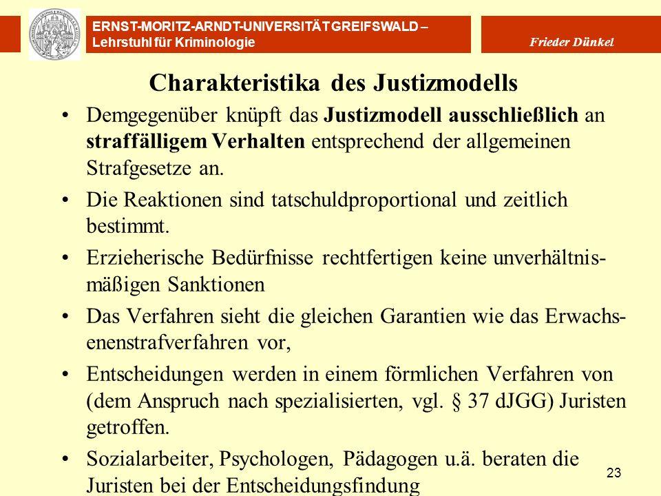 ERNST-MORITZ-ARNDT-UNIVERSITÄT GREIFSWALD – Lehrstuhl für Kriminologie Frieder Dünkel 23 Charakteristika des Justizmodells Demgegenüber knüpft das Jus