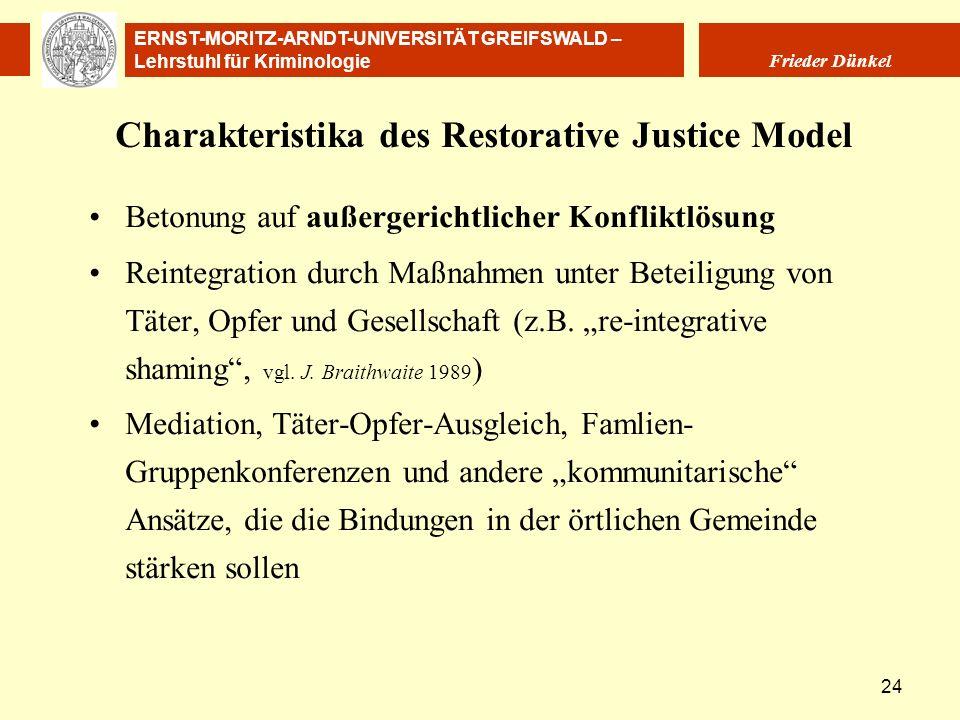 ERNST-MORITZ-ARNDT-UNIVERSITÄT GREIFSWALD – Lehrstuhl für Kriminologie Frieder Dünkel 24 Charakteristika des Restorative Justice Model Betonung auf au
