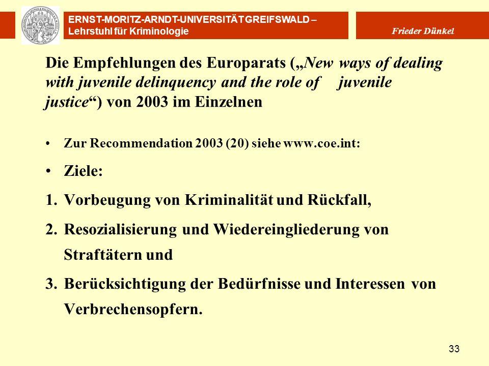ERNST-MORITZ-ARNDT-UNIVERSITÄT GREIFSWALD – Lehrstuhl für Kriminologie Frieder Dünkel 33 Die Empfehlungen des Europarats (New ways of dealing with juv