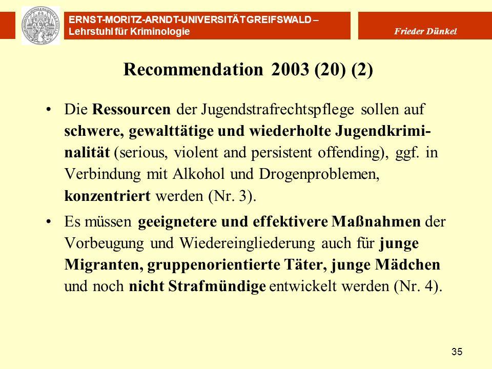 ERNST-MORITZ-ARNDT-UNIVERSITÄT GREIFSWALD – Lehrstuhl für Kriminologie Frieder Dünkel 35 Recommendation 2003 (20) (2) Die Ressourcen der Jugendstrafre