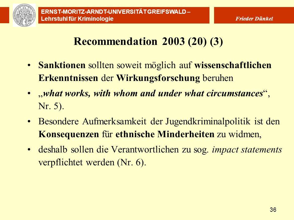 ERNST-MORITZ-ARNDT-UNIVERSITÄT GREIFSWALD – Lehrstuhl für Kriminologie Frieder Dünkel 36 Recommendation 2003 (20) (3) Sanktionen sollten soweit möglic