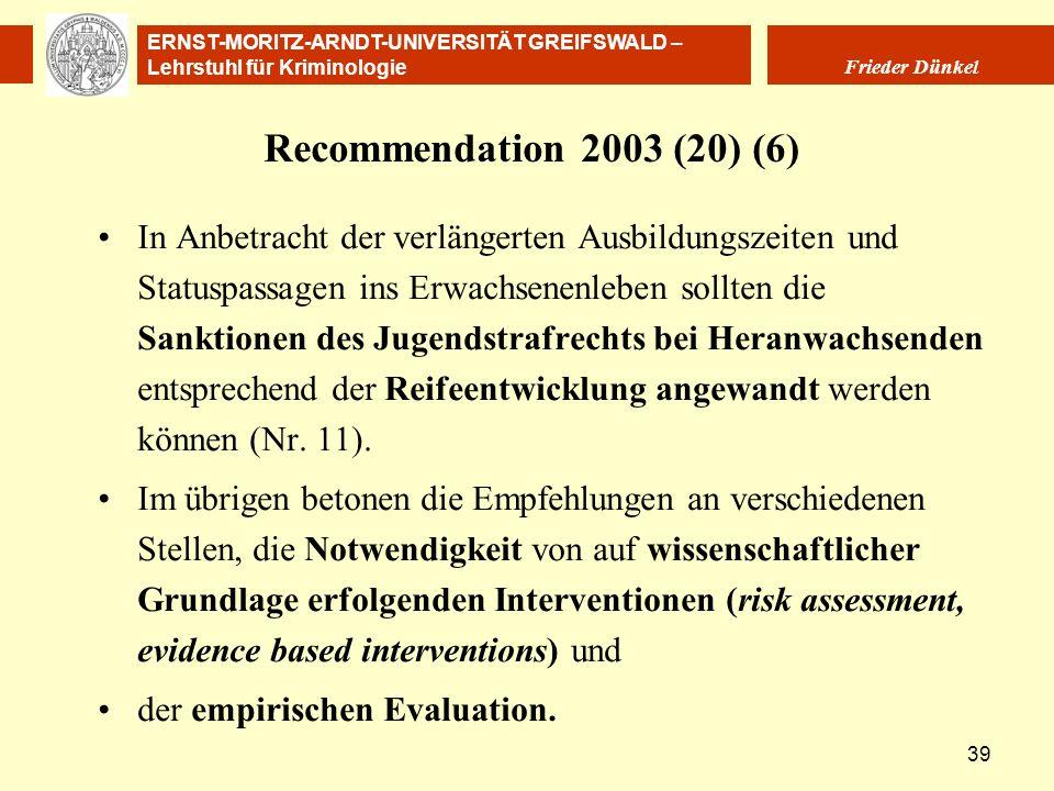 ERNST-MORITZ-ARNDT-UNIVERSITÄT GREIFSWALD – Lehrstuhl für Kriminologie Frieder Dünkel 39 Recommendation 2003 (20) (6) In Anbetracht der verlängerten A