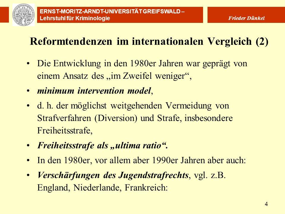 ERNST-MORITZ-ARNDT-UNIVERSITÄT GREIFSWALD – Lehrstuhl für Kriminologie Frieder Dünkel 4 Reformtendenzen im internationalen Vergleich (2) Die Entwicklu