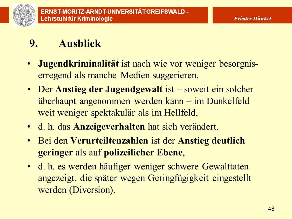 ERNST-MORITZ-ARNDT-UNIVERSITÄT GREIFSWALD – Lehrstuhl für Kriminologie Frieder Dünkel 48 9.Ausblick Jugendkriminalität ist nach wie vor weniger besorg