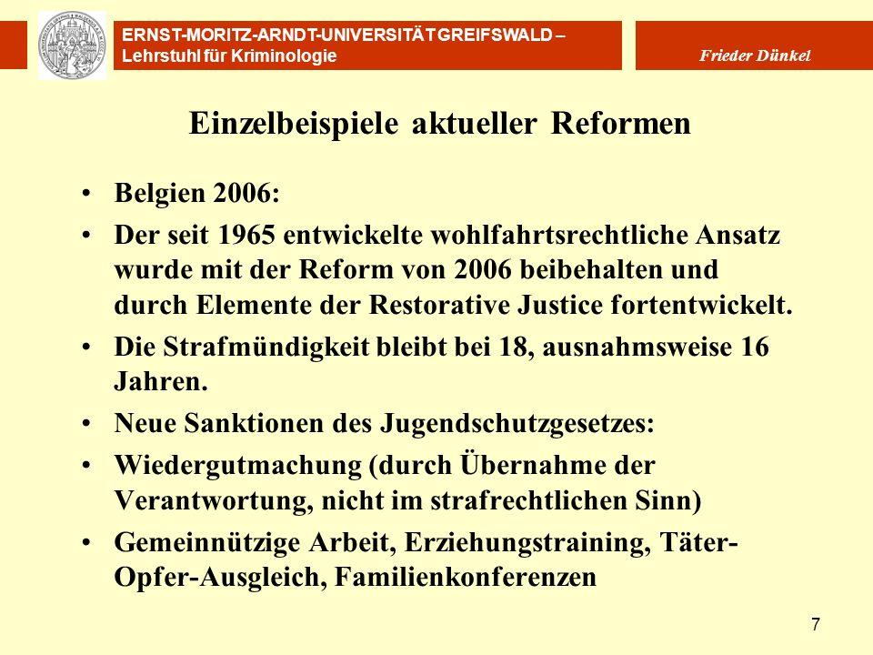 ERNST-MORITZ-ARNDT-UNIVERSITÄT GREIFSWALD – Lehrstuhl für Kriminologie Frieder Dünkel 7 Einzelbeispiele aktueller Reformen Belgien 2006: Der seit 1965