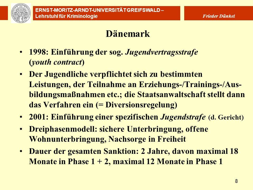 ERNST-MORITZ-ARNDT-UNIVERSITÄT GREIFSWALD – Lehrstuhl für Kriminologie Frieder Dünkel 8 Dänemark 1998: Einführung der sog. Jugendvertragsstrafe (youth