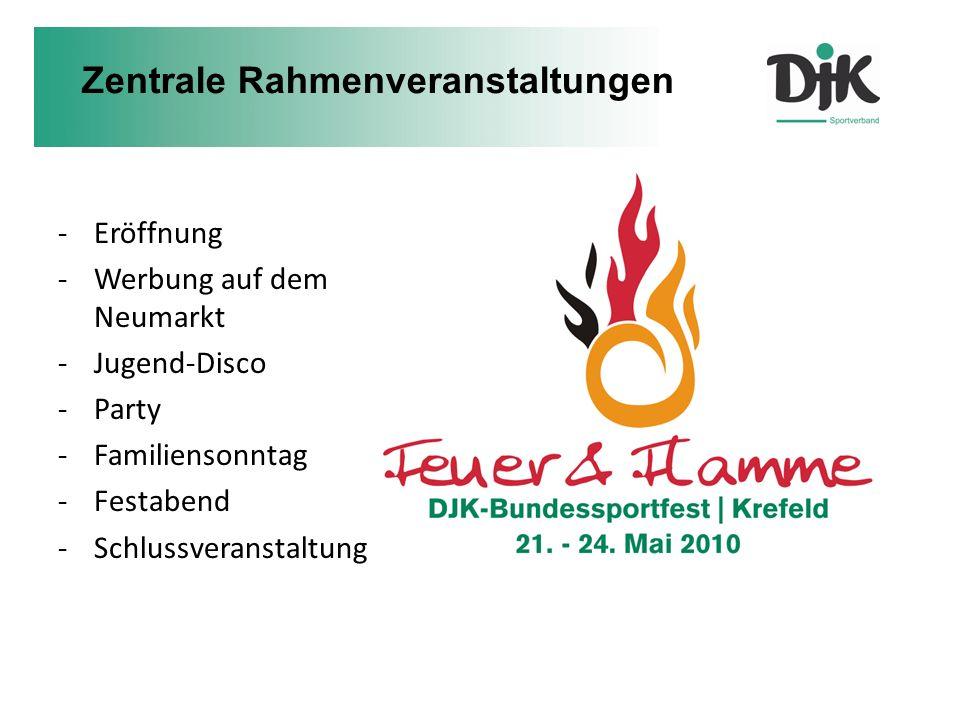 -Eröffnung -Werbung auf dem Neumarkt -Jugend-Disco -Party -Familiensonntag -Festabend -Schlussveranstaltung Zentrale Rahmenveranstaltungen