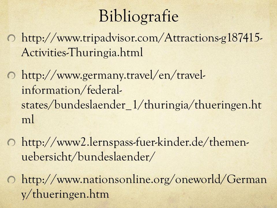 Bibliografie http://www.tripadvisor.com/Attractions-g187415- Activities-Thuringia.html http://www.germany.travel/en/travel- information/federal- states/bundeslaender_1/thuringia/thueringen.ht ml http://www2.lernspass-fuer-kinder.de/themen- uebersicht/bundeslaender/ http://www.nationsonline.org/oneworld/German y/thueringen.htm http://www.thueringen.de/en/tourism/