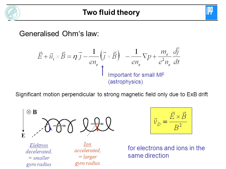 Important for small MF (astrophysics) Two fluid theory Generalised Ohms law: Significant motion perpendicular to strong magnetic field only due to ExB