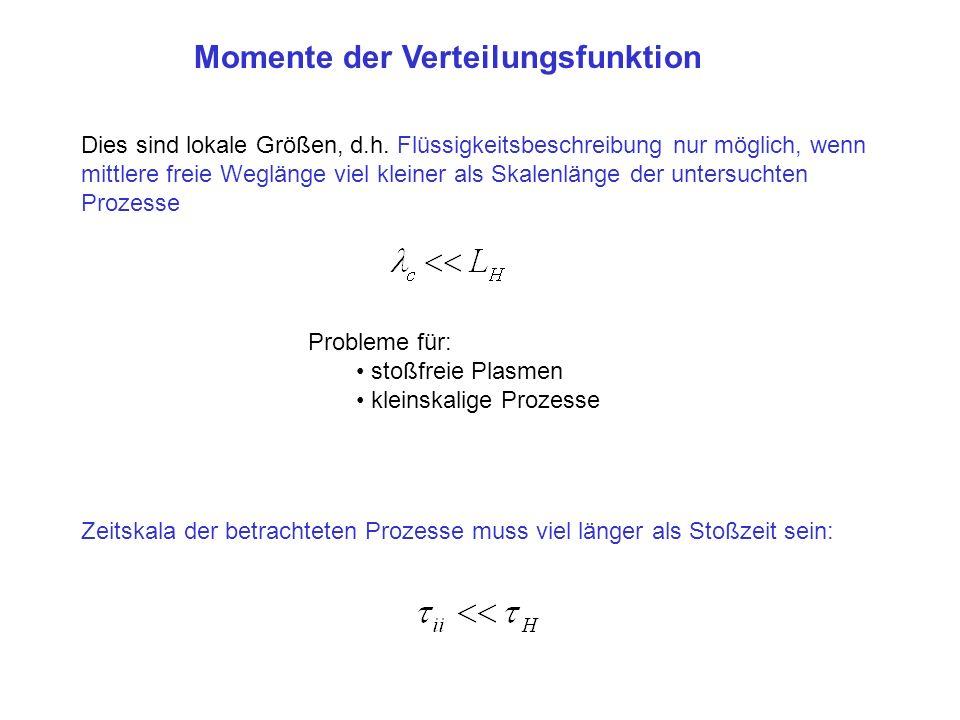 Kontinuitätsgleichung 0-tes Moment der kinetischen Gleichung: Energie-und Impulserhaltung: (falls nur Teilchen einer Sorte) v und u unabhängige Phasenraumvariablen, daher