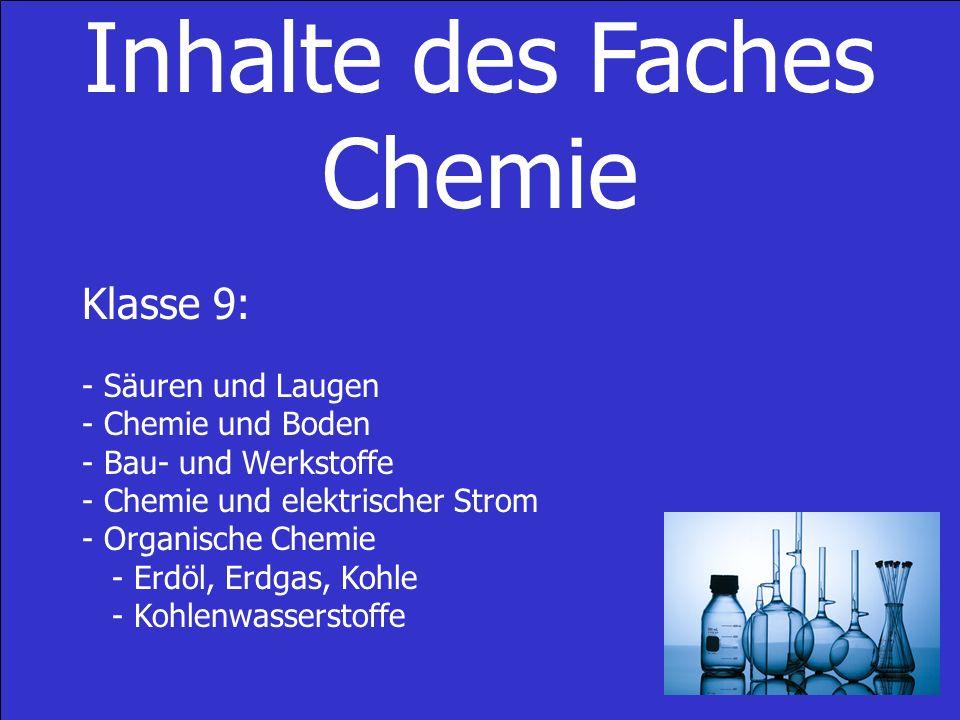 Inhalte des Faches Chemie Klasse 9: - Säuren und Laugen - Chemie und Boden - Bau- und Werkstoffe - Chemie und elektrischer Strom - Organische Chemie - Erdöl, Erdgas, Kohle - Kohlenwasserstoffe