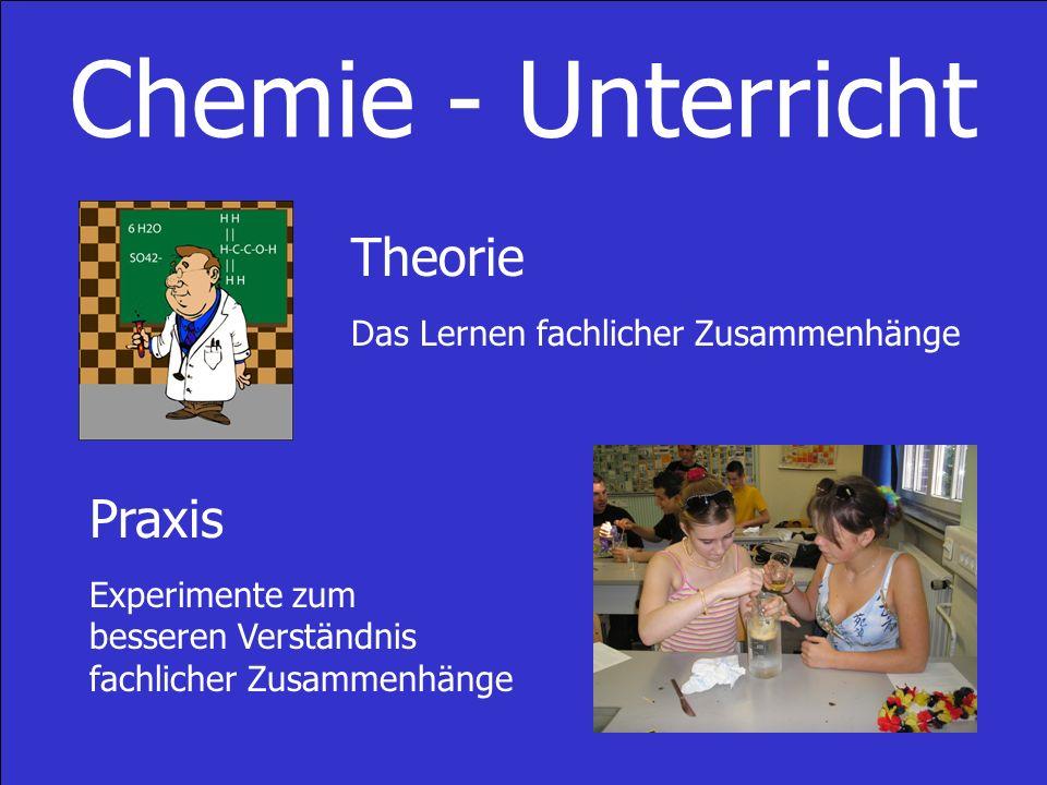 Chemie - Unterricht Theorie Das Lernen fachlicher Zusammenhänge Praxis Experimente zum besseren Verständnis fachlicher Zusammenhänge