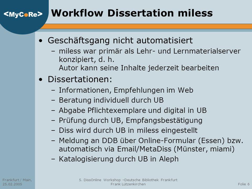 Frankfurt / Main, 25.02.2005 5. DissOnline Workshop –Deutsche Bibliothek Frankfurt Frank LützenkirchenFolie 6 Workflow Dissertation miless Geschäftsga
