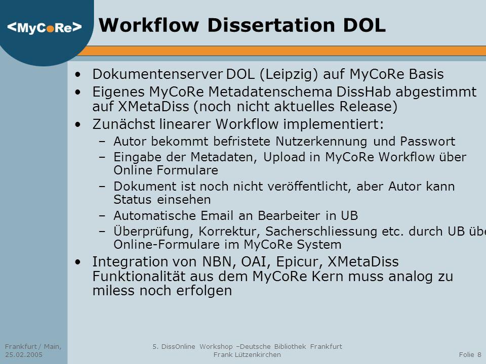 Frankfurt / Main, 25.02.2005 5. DissOnline Workshop –Deutsche Bibliothek Frankfurt Frank LützenkirchenFolie 8 Workflow Dissertation DOL Dokumentenserv