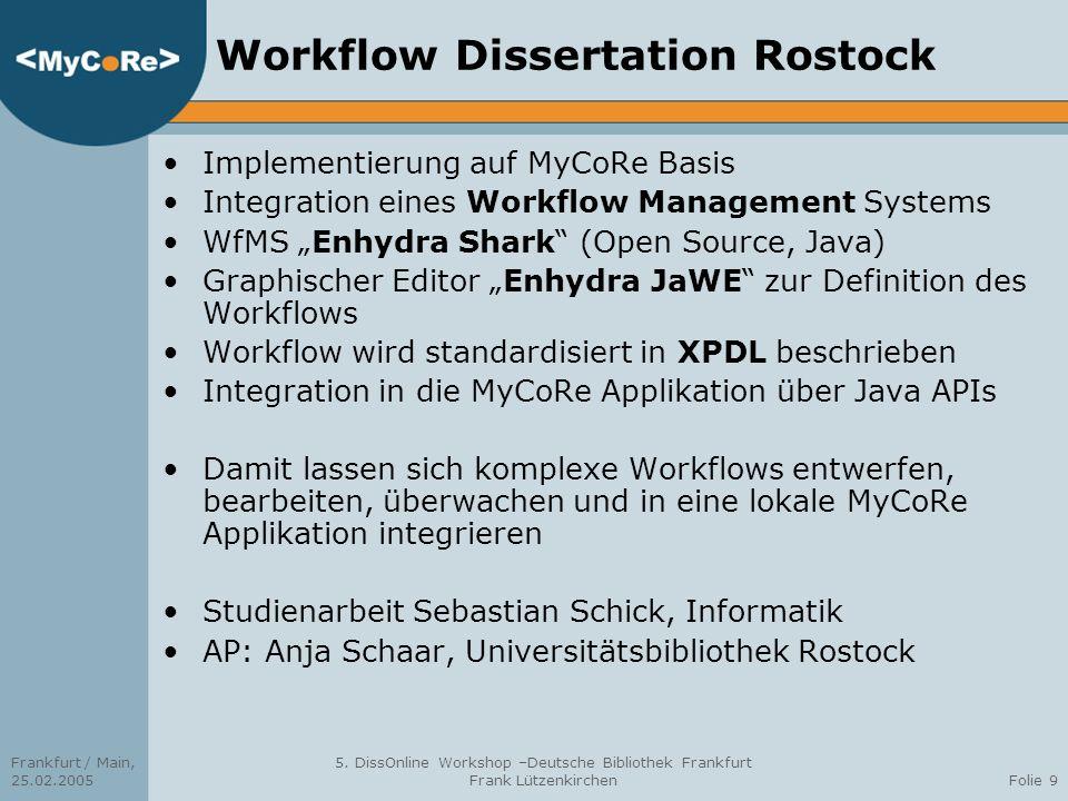 Frankfurt / Main, 25.02.2005 5. DissOnline Workshop –Deutsche Bibliothek Frankfurt Frank LützenkirchenFolie 9 Workflow Dissertation Rostock Implementi