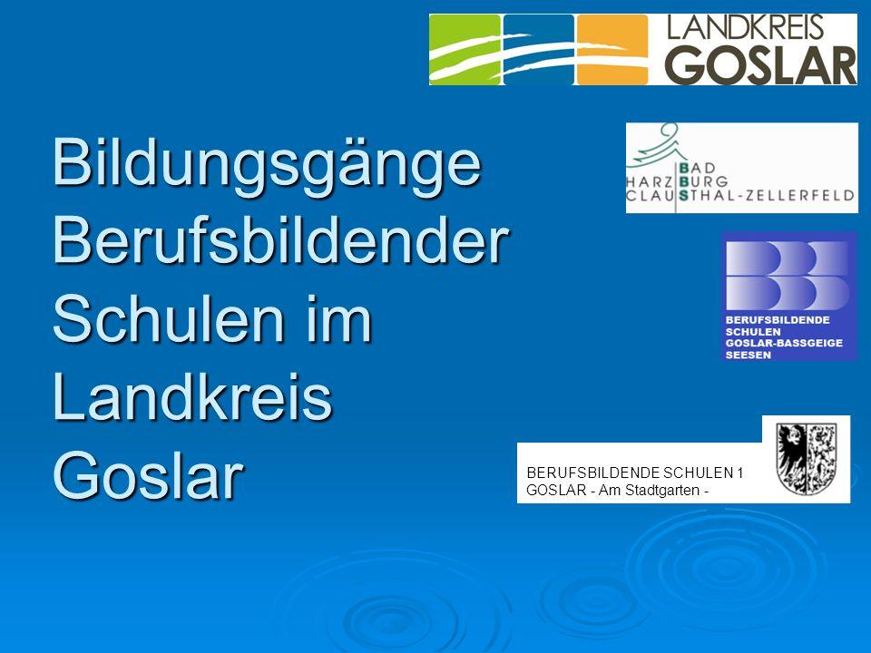Bildungsgänge Berufsbildender Schulen im Landkreis Goslar BERUFSBILDENDE SCHULEN 1 GOSLAR - Am Stadtgarten -