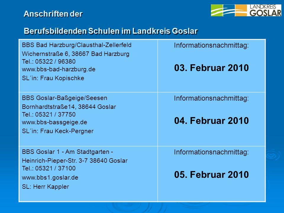 BBS Bad Harzburg/Clausthal-Zellerfeld Wichernstraße 6, 38667 Bad Harzburg Tel.: 05322 / 96380 www.bbs-bad-harzburg.de SL´in: Frau Kopischke Informatio