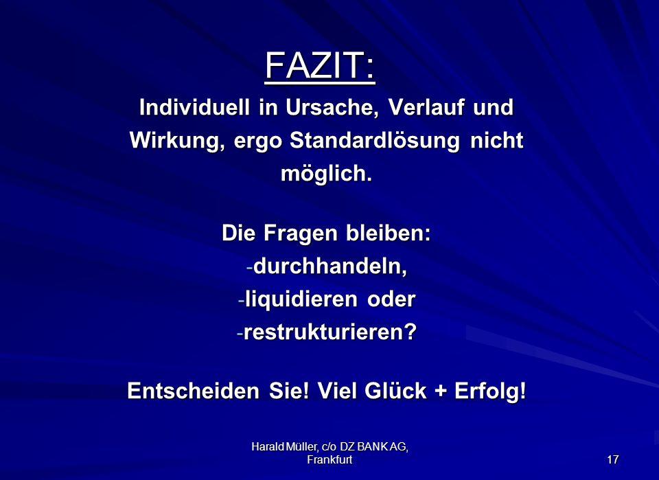 Harald Müller, c/o DZ BANK AG, Frankfurt 17FAZIT: Individuell in Ursache, Verlauf und Wirkung, ergo Standardlösung nicht möglich. Die Fragen bleiben: