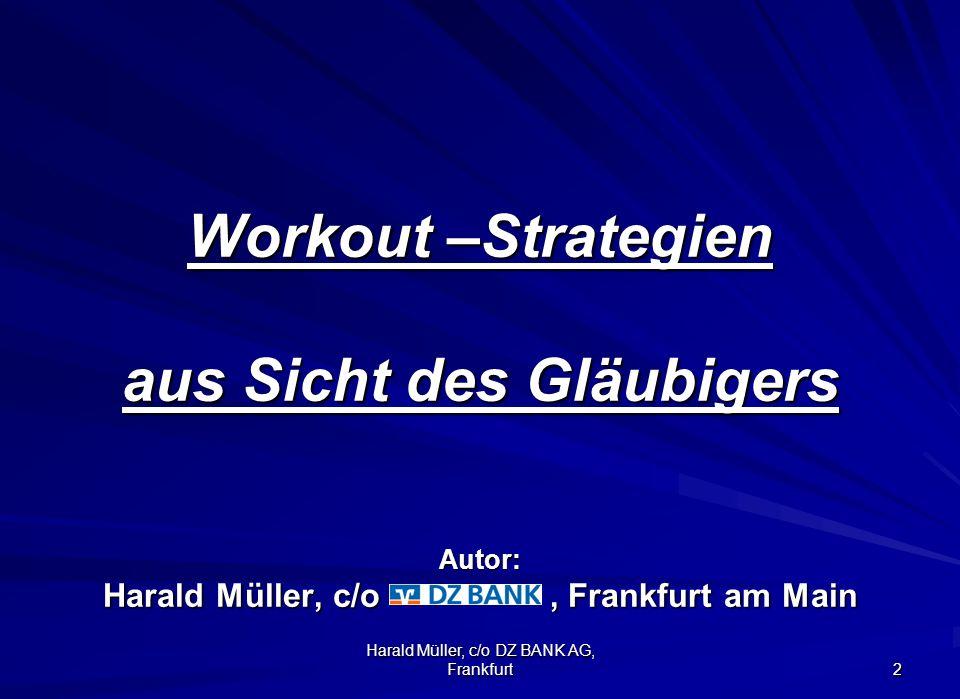 Harald Müller, c/o DZ BANK AG, Frankfurt 2 Workout –Strategien aus Sicht des Gläubigers Autor: Harald Müller, c/o, Frankfurt am Main Workout –Strategi