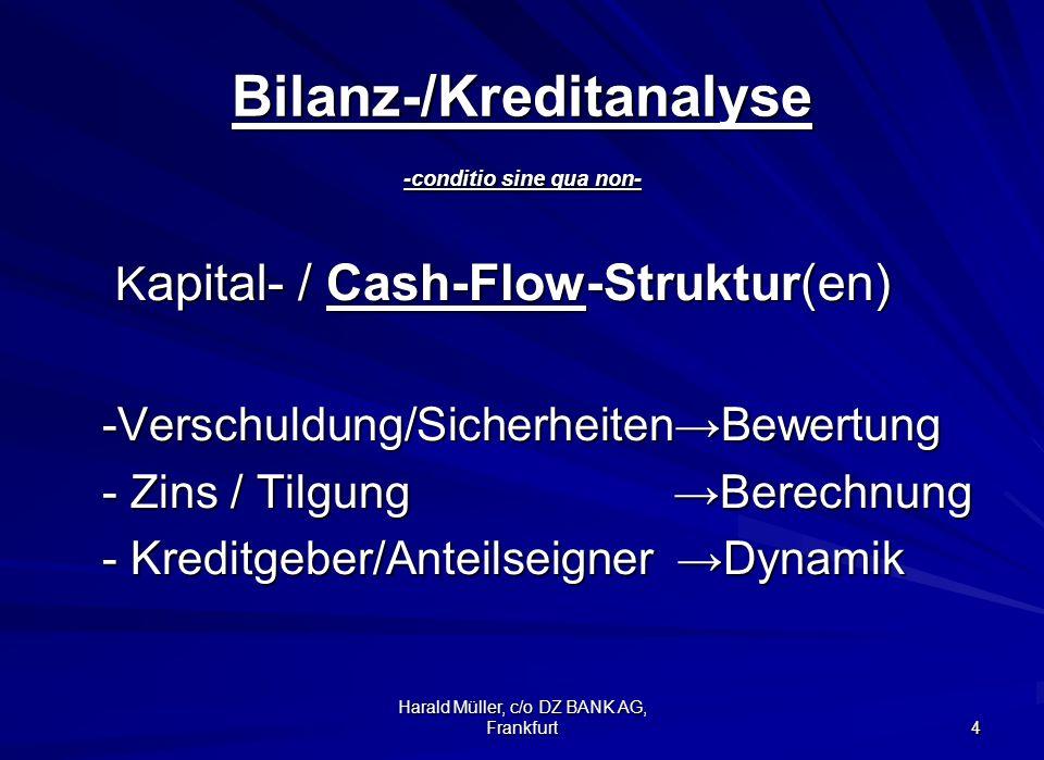 Harald Müller, c/o DZ BANK AG, Frankfurt 4 Bilanz-/Kreditanalyse -conditio sine qua non- K apital- / Cash-Flow-Struktur(en) K apital- / Cash-Flow-Stru