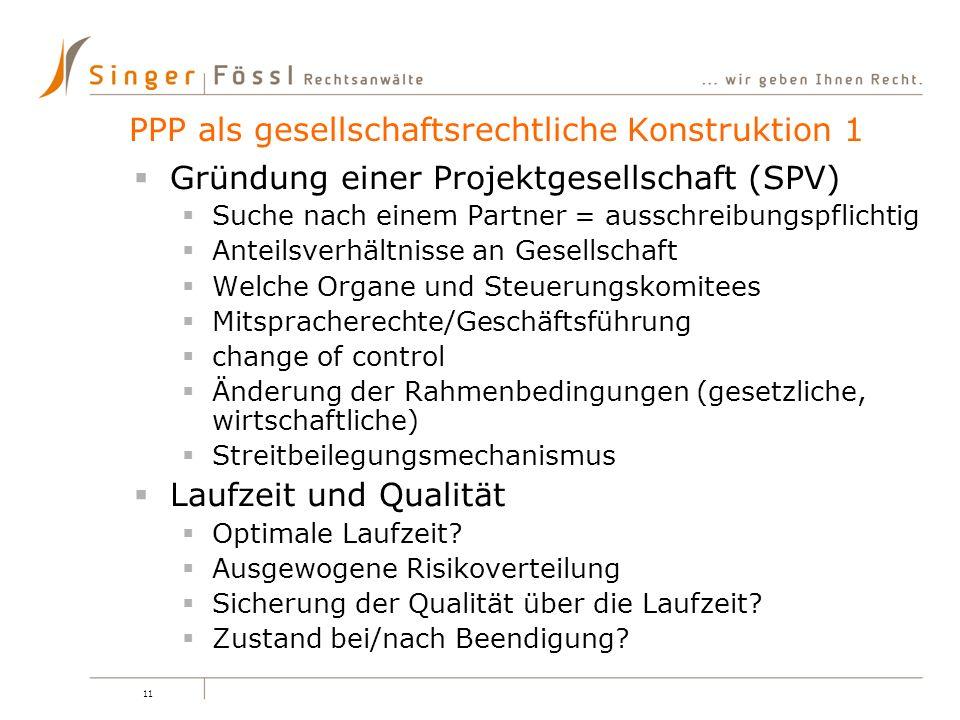 11 Gründung einer Projektgesellschaft (SPV) Suche nach einem Partner = ausschreibungspflichtig Anteilsverhältnisse an Gesellschaft Welche Organe und S