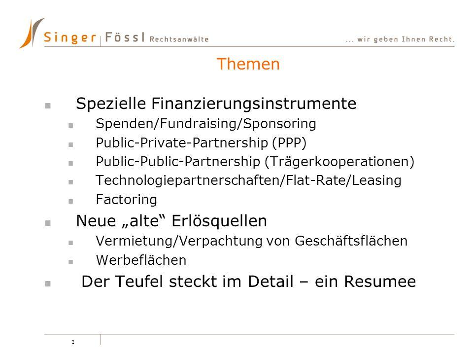 2 Spezielle Finanzierungsinstrumente Spenden/Fundraising/Sponsoring Public-Private-Partnership (PPP) Public-Public-Partnership (Trägerkooperationen) T