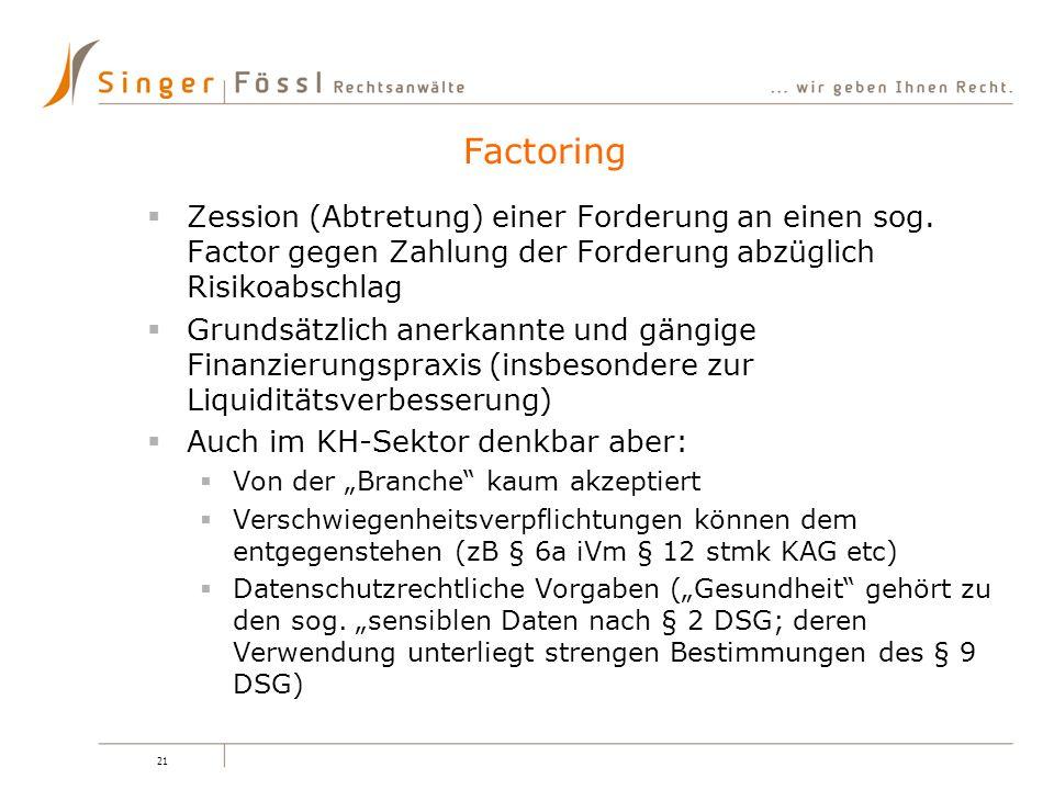 21 Zession (Abtretung) einer Forderung an einen sog. Factor gegen Zahlung der Forderung abzüglich Risikoabschlag Grundsätzlich anerkannte und gängige