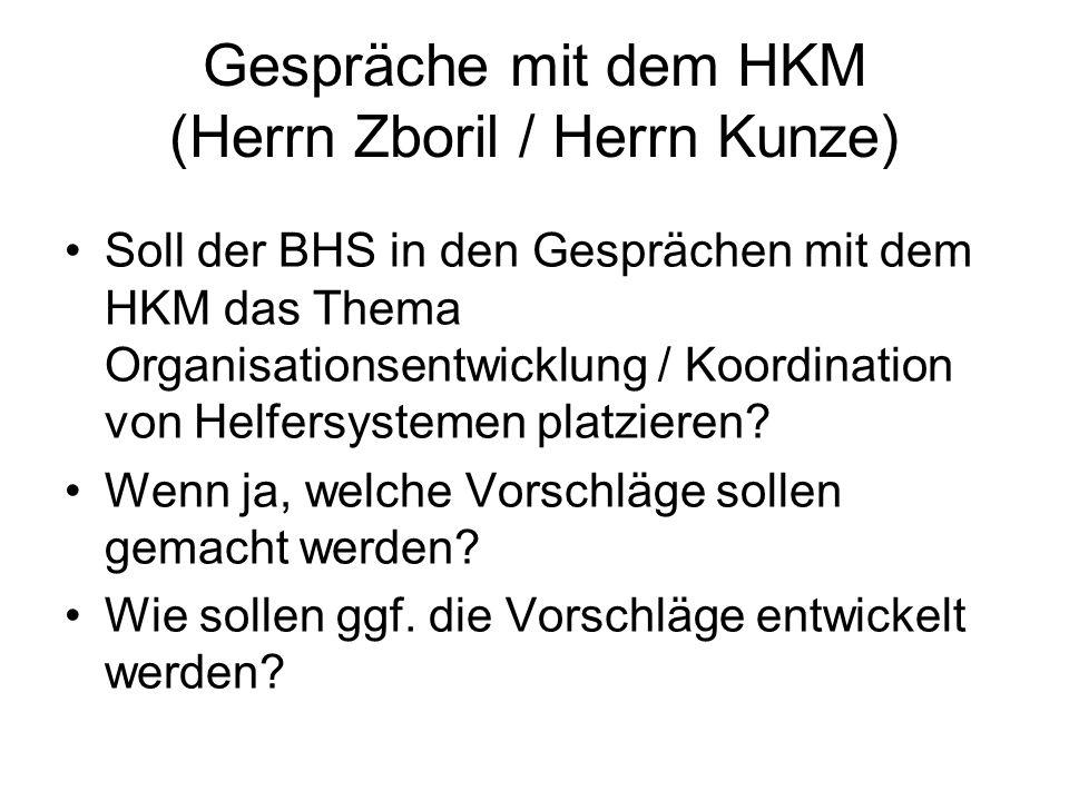 Gespräche mit dem HKM (Herrn Zboril / Herrn Kunze) Soll der BHS in den Gesprächen mit dem HKM das Thema Organisationsentwicklung / Koordination von Helfersystemen platzieren.