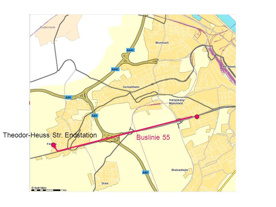 n. Finthen Buslinie 55 Theodor-Heuss Str. Endstation