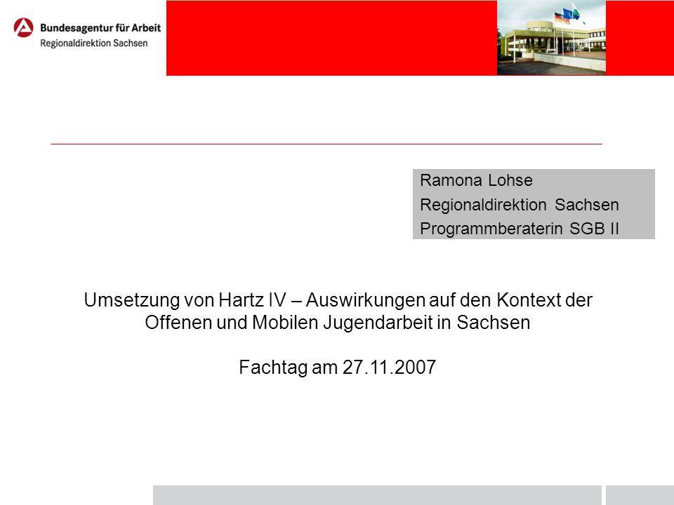 Ramona Lohse Regionaldirektion Sachsen Programmberaterin SGB II Umsetzung von Hartz IV – Auswirkungen auf den Kontext der Offenen und Mobilen Jugendar